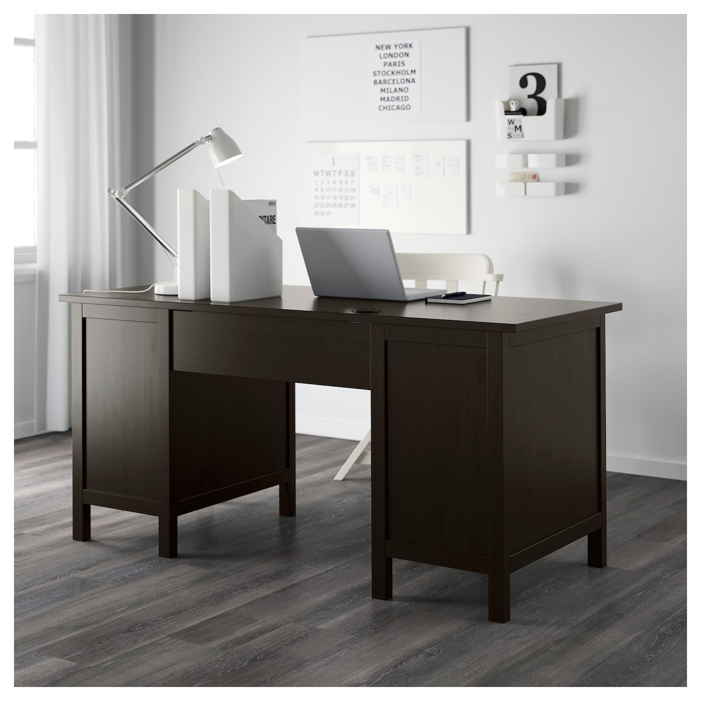 hemnes desk black brown 155 x 65 cm ikea. Black Bedroom Furniture Sets. Home Design Ideas