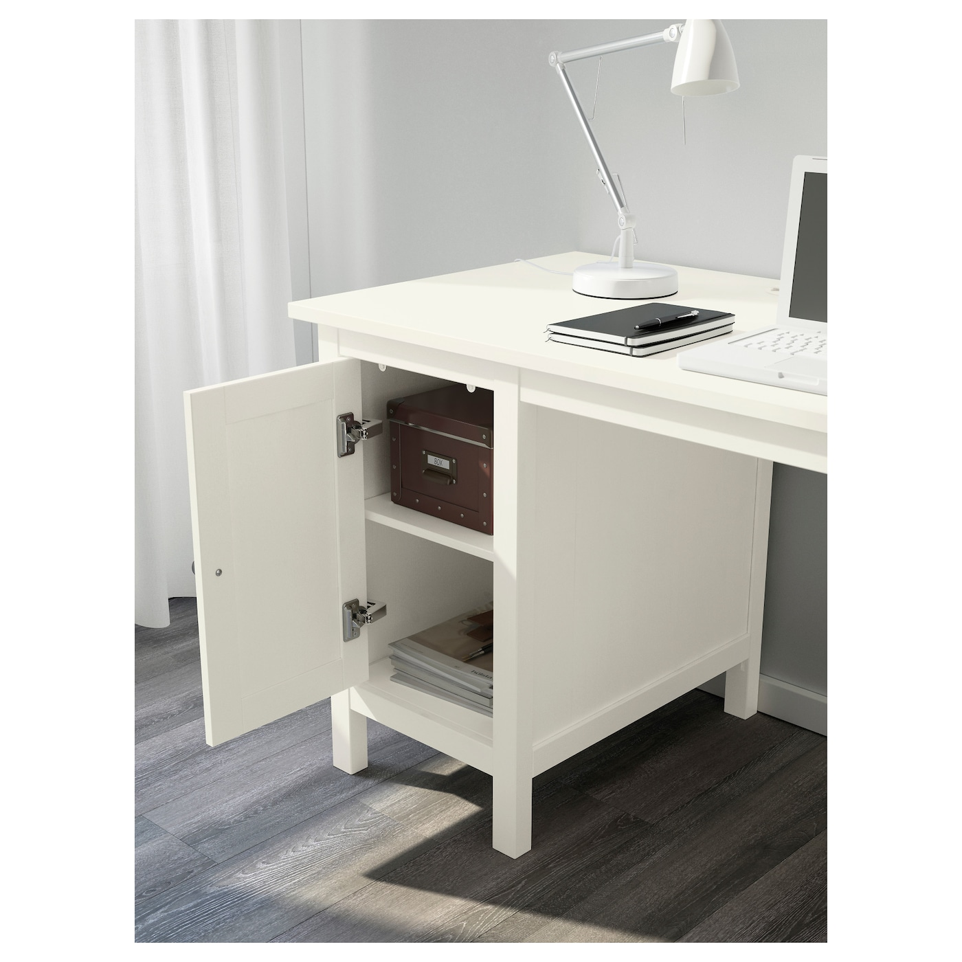 Superbe IKEA HEMNES Desk Cable Outlet For Easy Cable Management. Solid Wood Is A  Durable Natural