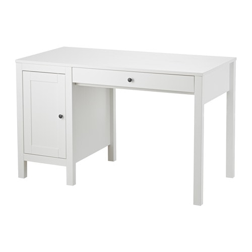 Hemnes desk white stained 120x55 cm ikea for Bureau blanc ikea