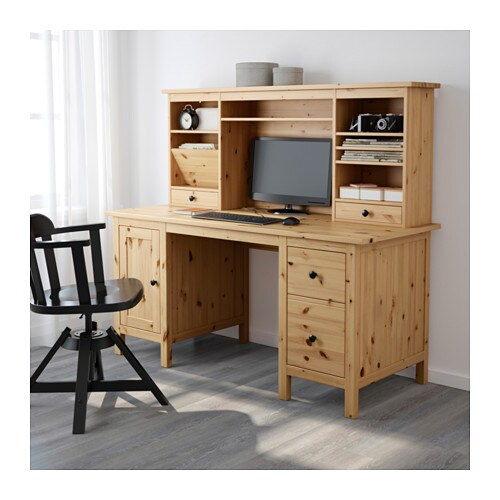 Hemnes desk with add on unit light brown 155x137 cm ikea for Schreibtisch dekorieren ikea