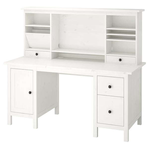 HEMNES Desk with add-on unit, white stain, 155x137 cm
