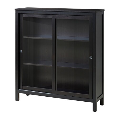 IKEA HEMNES glass-door cabinet Sliding doors do not take up any space when opened.
