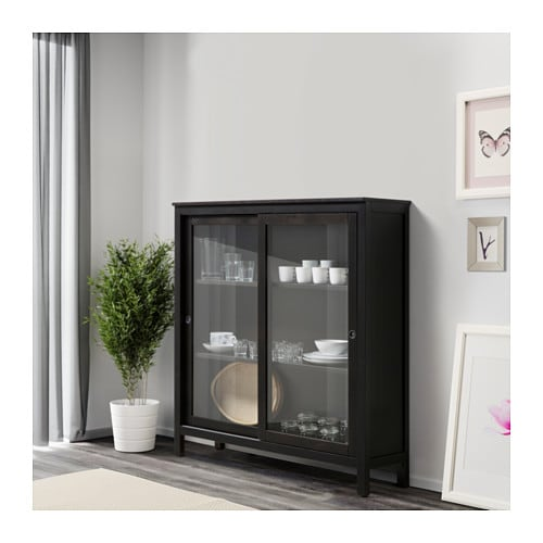 Hemnes Glass Door Cabinet Black Brown 120 X 130 Cm Ikea