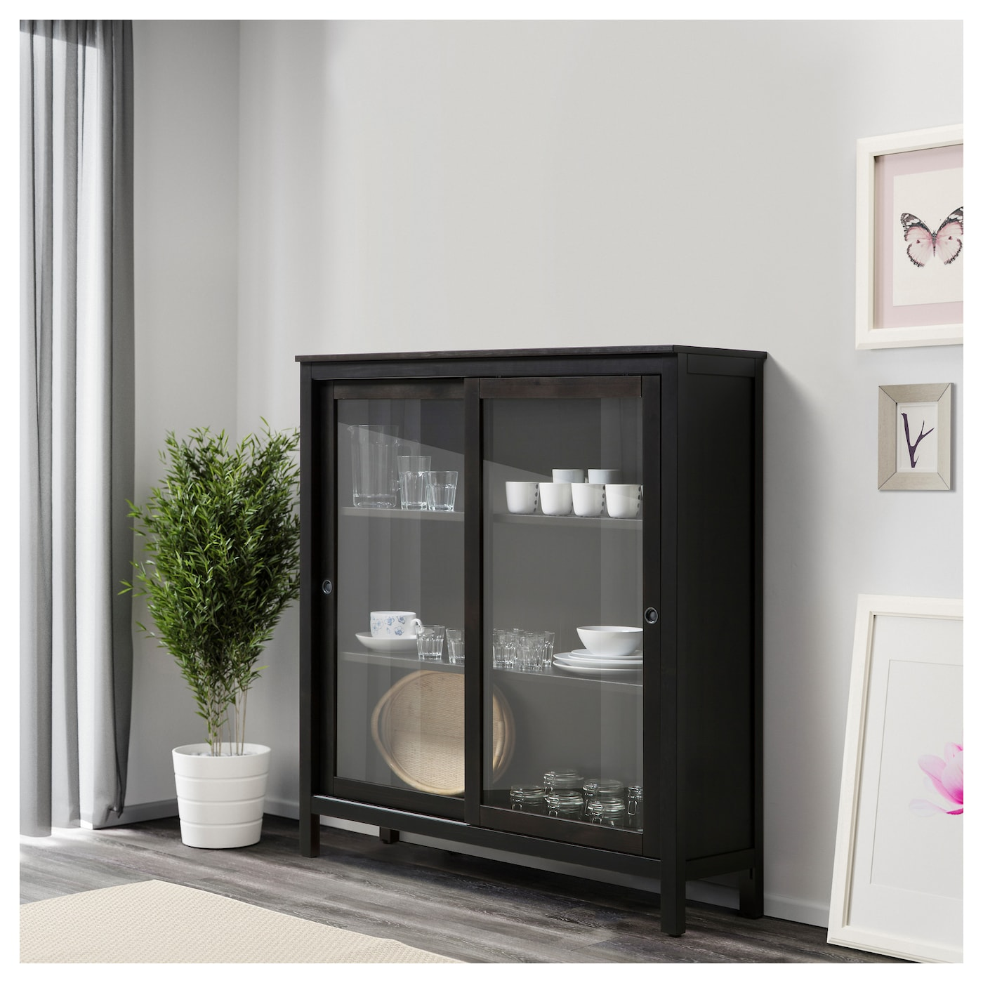 Hemnes glass door cabinet black brown 120x130 cm ikea Glass cabinet doors