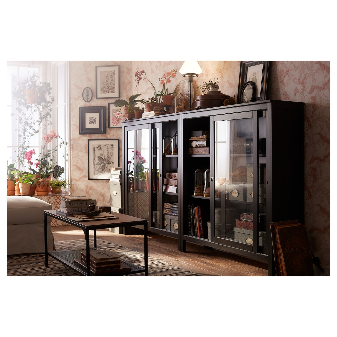 Hemnes Glass Door Cabinet Black Brown 120x130 Cm Ikea