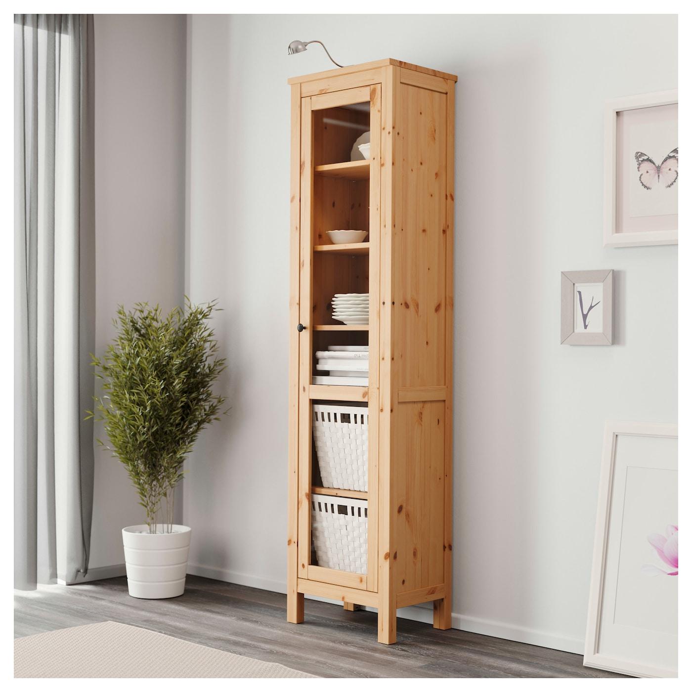 Hemnes Tv Unit Light Brown : IKEA HEMNES glassdoor cabinet Solid wood has a natural feel 1 fixed