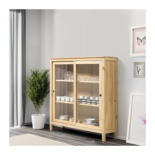 hemnes glass door cabinet light brown 120x130 cm ikea. Black Bedroom Furniture Sets. Home Design Ideas