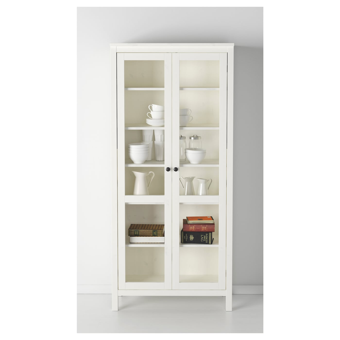 hemnes glass door cabinet white stain 90 x 197 cm ikea. Black Bedroom Furniture Sets. Home Design Ideas