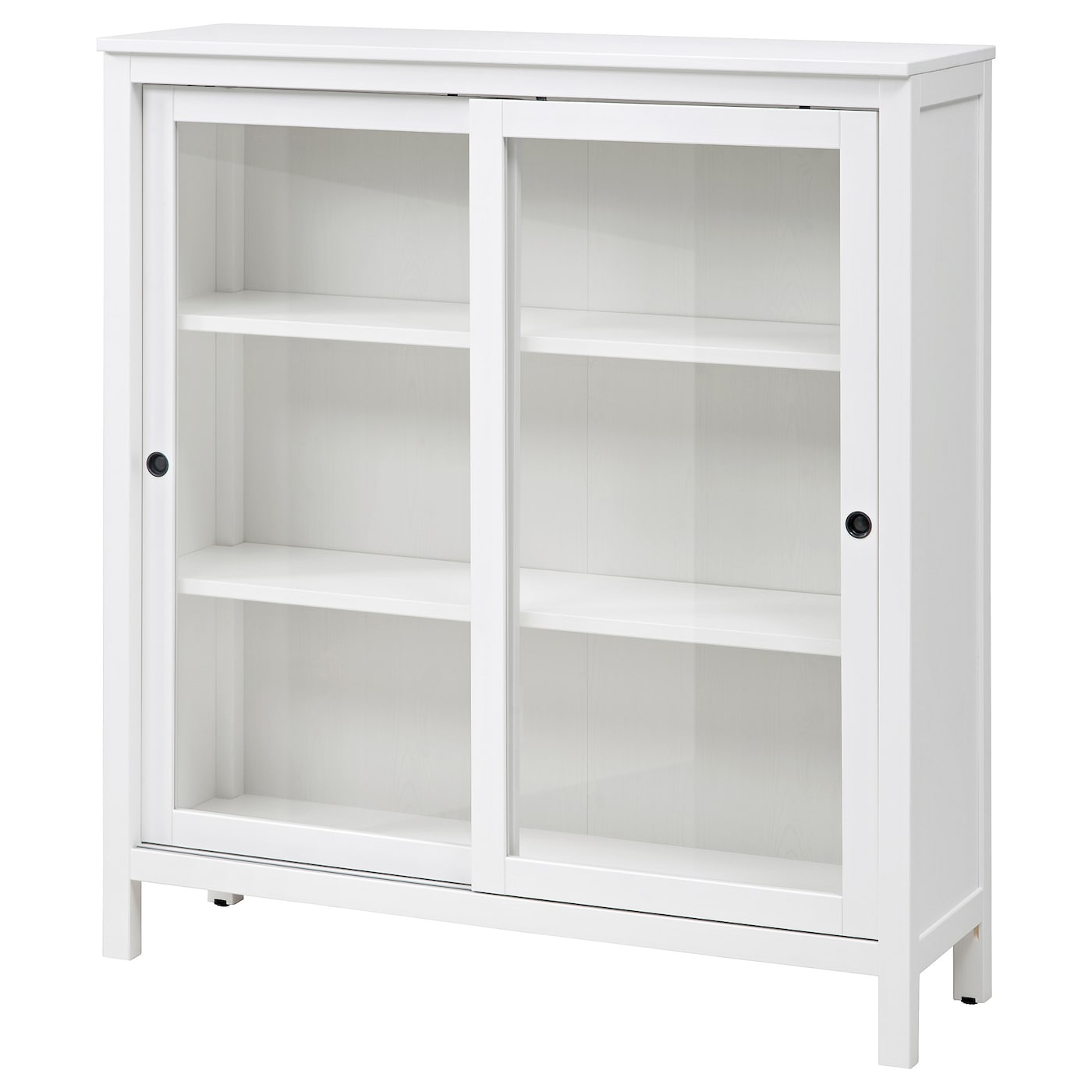 Hemnes glass door cabinet white stain 120x130 cm ikea for Small sliding glass doors