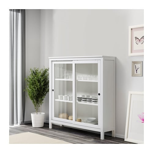 hemnes glass door cabinet white stain 120x130 cm ikea. Black Bedroom Furniture Sets. Home Design Ideas
