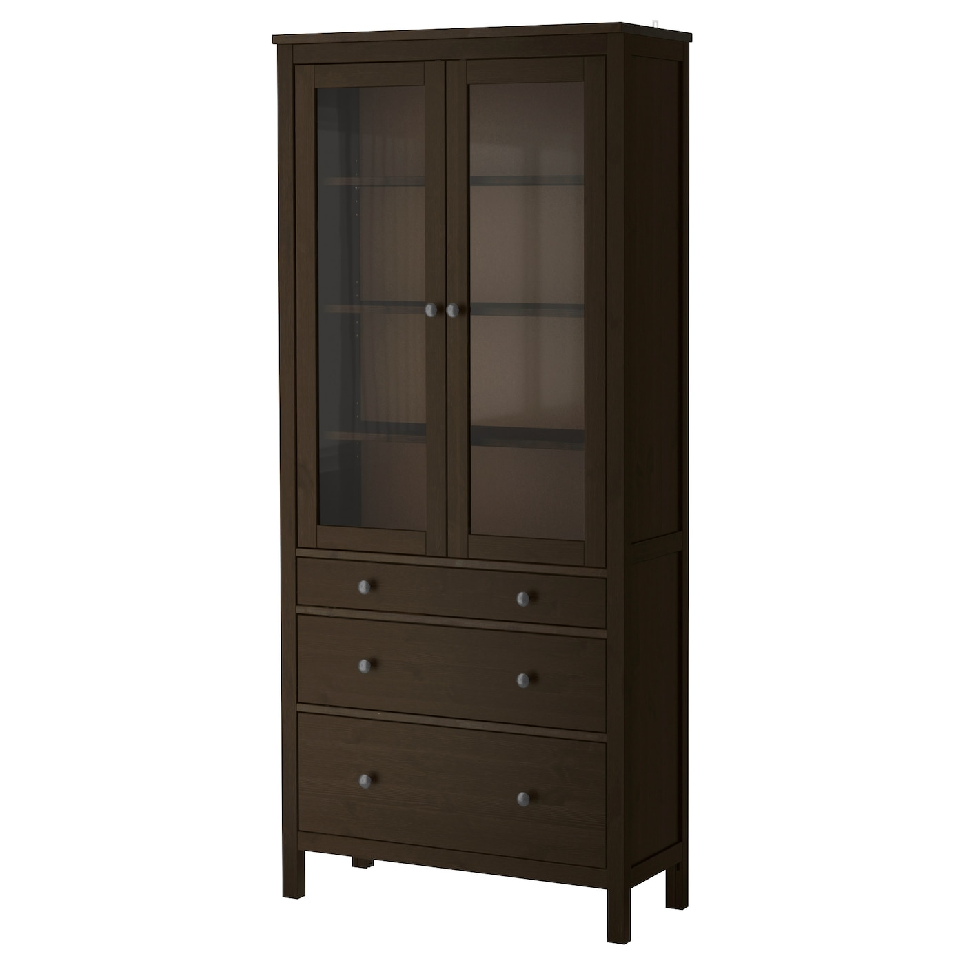 Hemnes glass door cabinet with 3 drawers black brown - Ikea glass cabinets ...