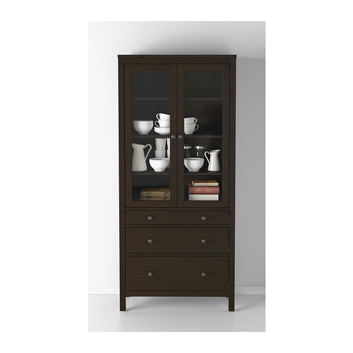 hemnes glass door cabinet with 3 drawers black brown 90x197 cm ikea. Black Bedroom Furniture Sets. Home Design Ideas
