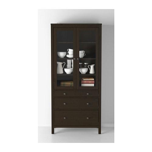 hemnes glass door cabinet with 3 drawers black brown 90x197 cm ikea. Black Bedroom Furniture Sets. Home Design Ideas