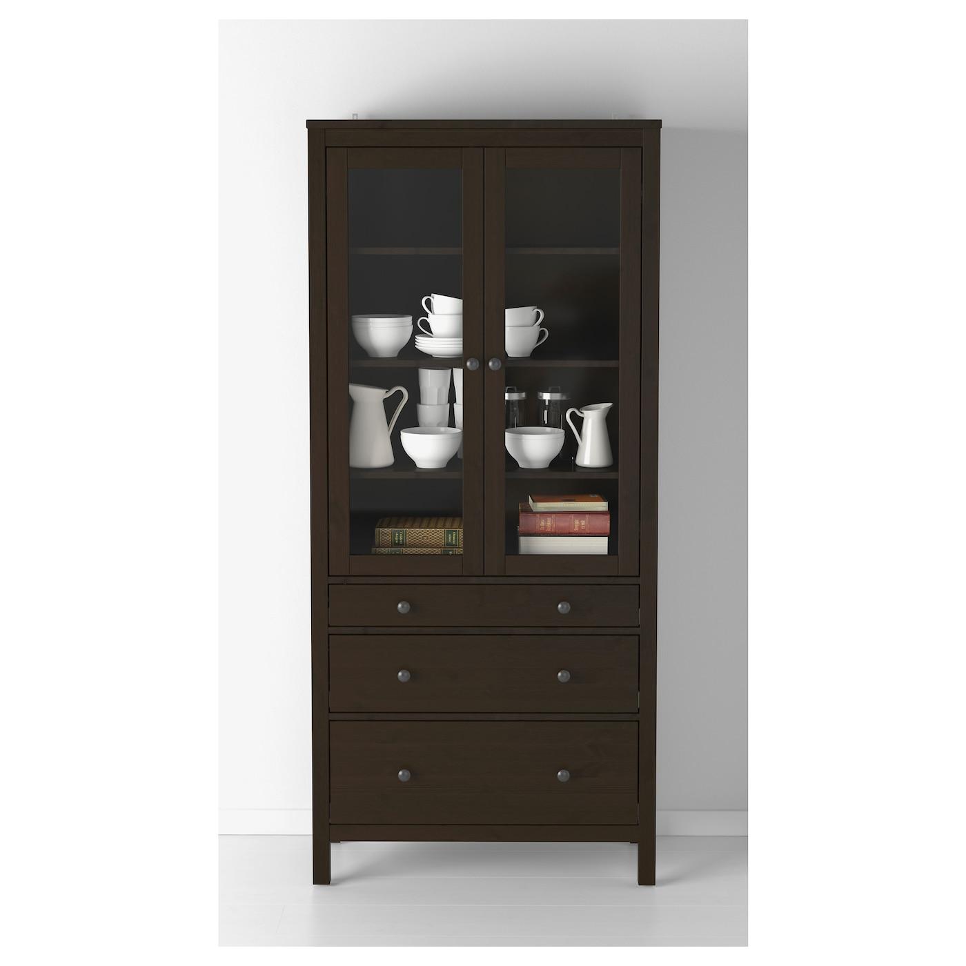 hemnes glass door cabinet with 3 drawers black brown. Black Bedroom Furniture Sets. Home Design Ideas
