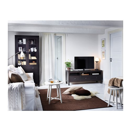 hemnes glass door cabinet with 3 drawers black brown. Black Bedroom Furniture Sets. Home Design Ideas