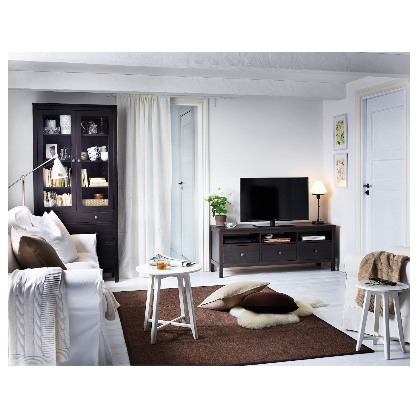 Hemnes Coffee Table White Stain 90 X 90 Cm: HEMNES Glass-door Cabinet With 3 Drawers Black-brown 90 X