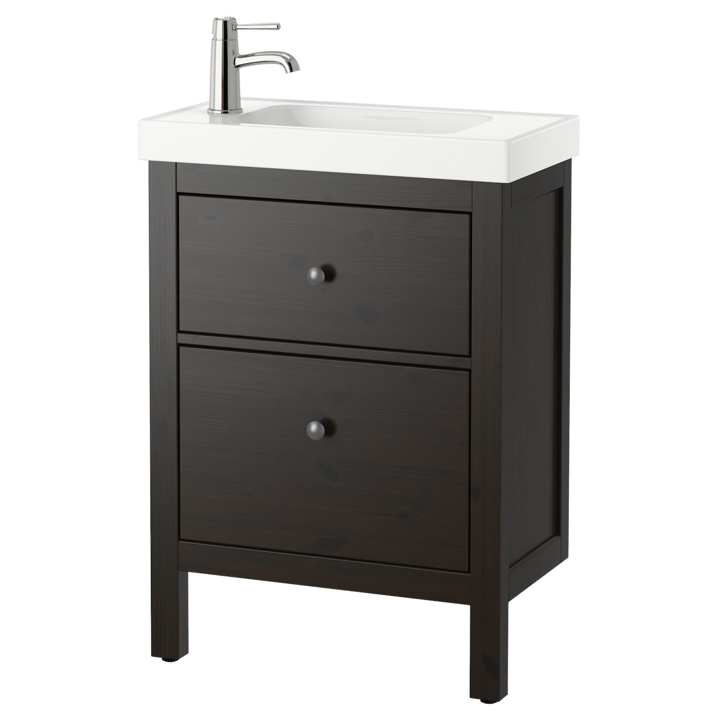 hemnes hagaviken wash stand with 2 drawers black brown 60x34x90 cm ikea. Black Bedroom Furniture Sets. Home Design Ideas