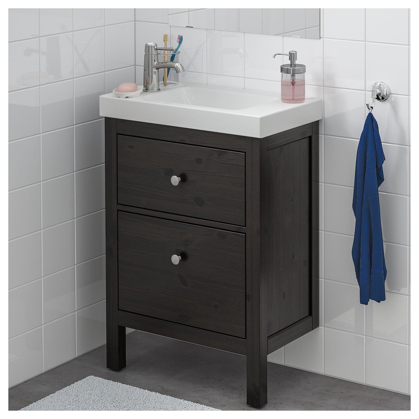 HEMNES HAGAVIKEN Wash stand with 2 drawers Black brown 60x34x90 cm IKEA
