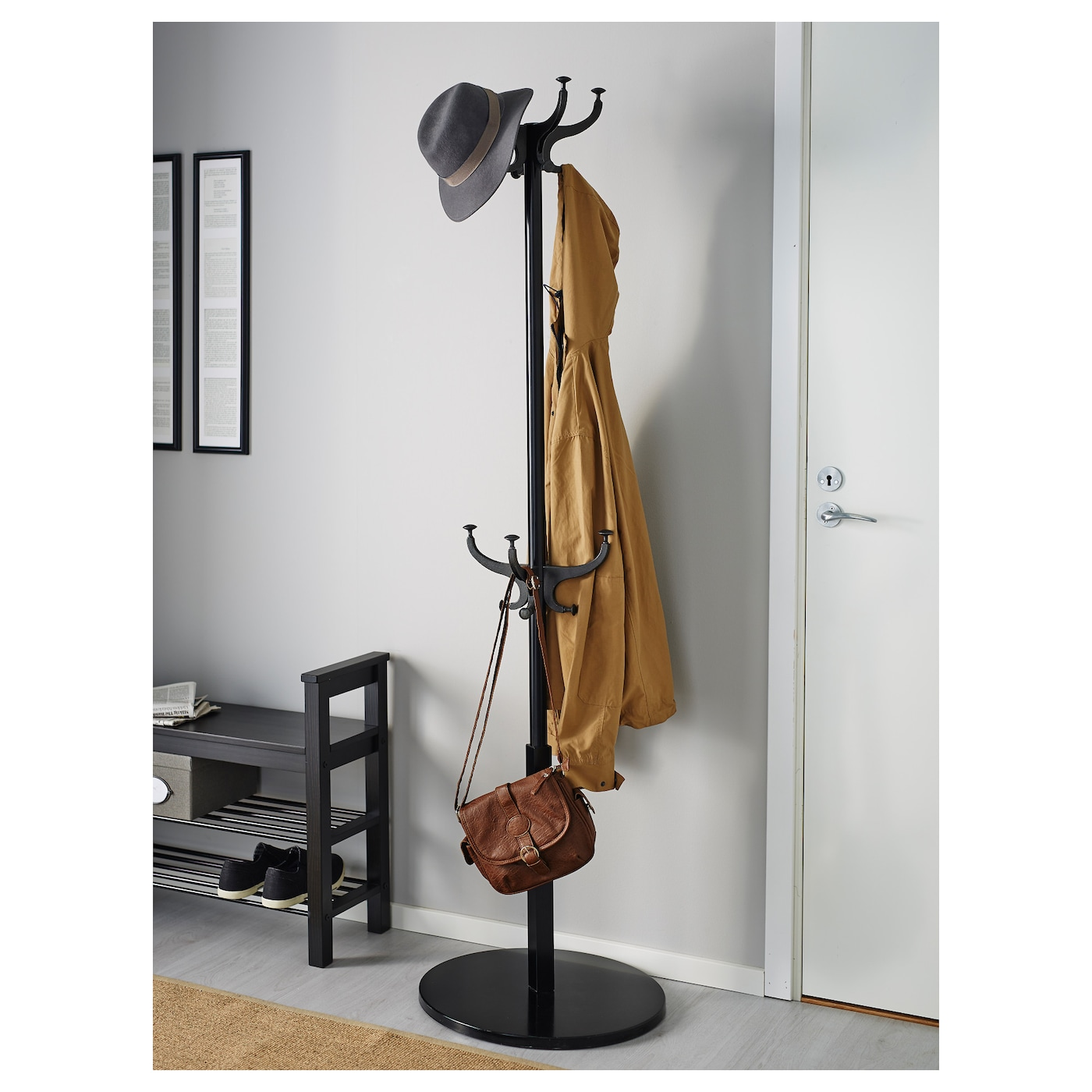 IKEA HEMNES hat and coat stand Also stands steady on an uneven floor since  the feet