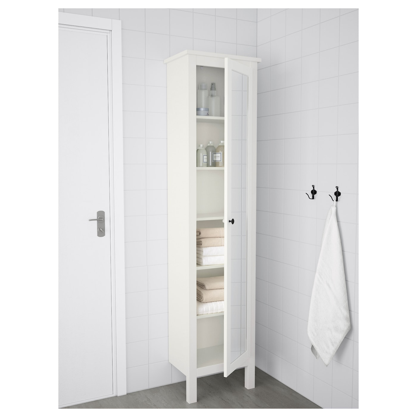 hemnes high cabinet with mirror door white 49x31x200 cm ikea. Black Bedroom Furniture Sets. Home Design Ideas