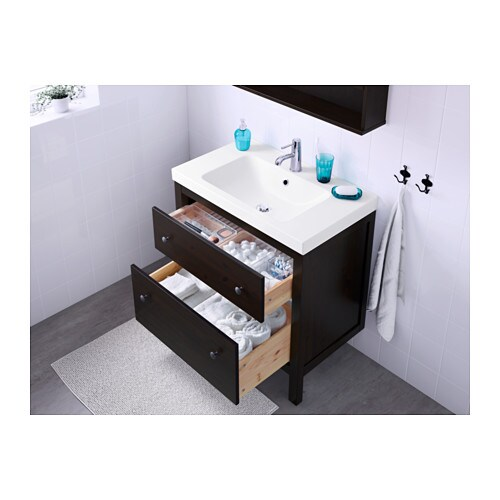 Hemnes Tv Stand Two Drawer : HEMNESODENSVIK Washstand with 2 drawers Blackbrown stain 80x49x89