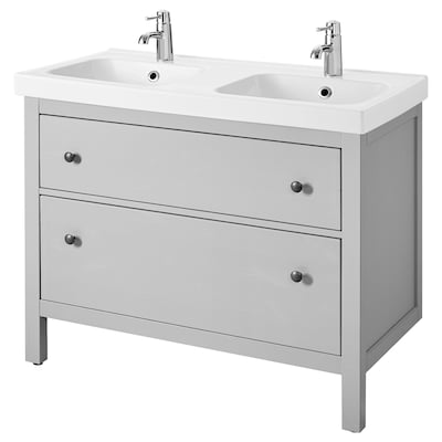 HEMNES / ODENSVIK Wash-stand with 2 drawers, grey, 103x49x89 cm