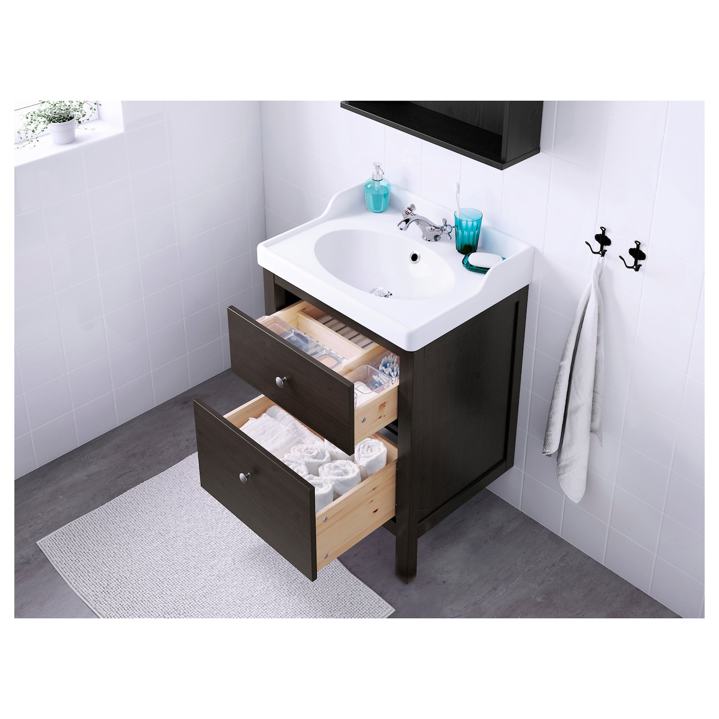 HEMNES RäTTVIKEN Wash stand with 2 drawers Black brown stain 60x49x89 cm IKEA