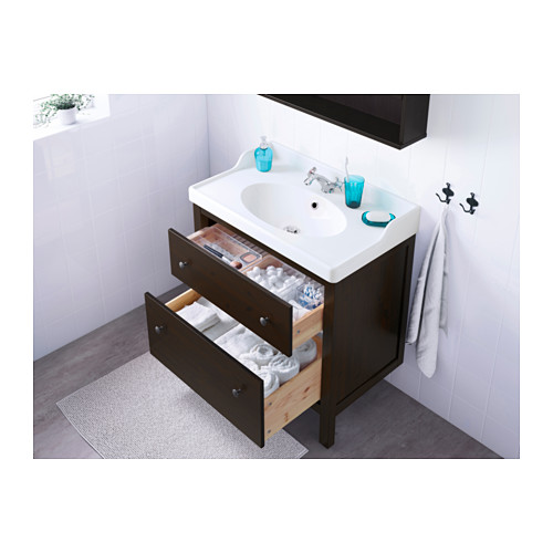 Wash Stand With 2 Drawers Black Brown Stain 80x49x89 Cm IKEA