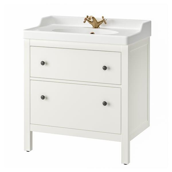 HEMNES / RÄTTVIKEN Wash-stand with 2 drawers, white/Runskär tap, 82x49x93 cm