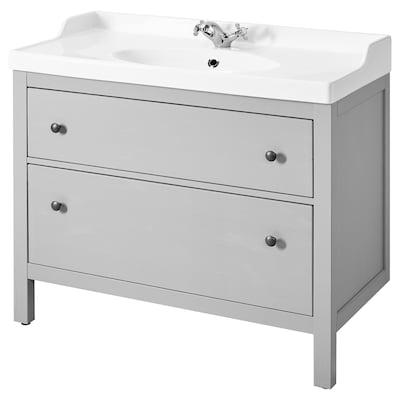 HEMNES / RUNSKÄR Wash-stand with 2 drawers, grey, 102x49x89 cm