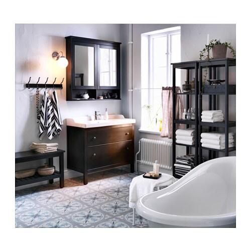Hemnes shelving unit black brown stain 42x172 cm ikea for Hemnes salle de bain