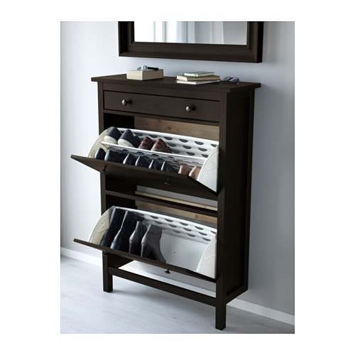 HEMNES Shoe cabinet with 2 compartments Black brown 89×127 cm   IKEA