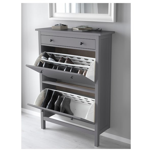 HEMNES Shoe cabinet with 2 compartments, grey, 89x127 cm
