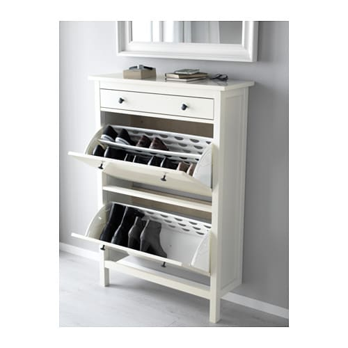 HEMNES Shoe cabinet with 2 compartments White 89×127 cm IKEA