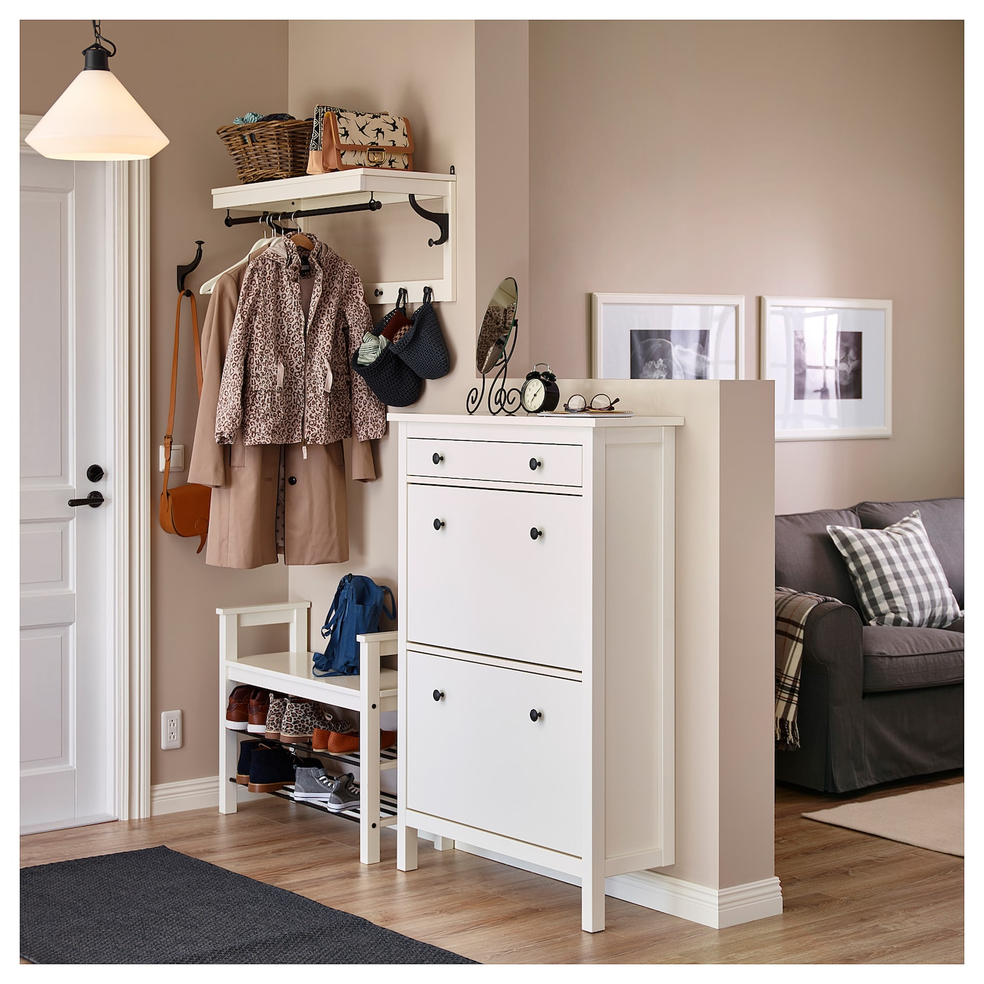 HEMNES Shoe cabinet with 2 partments White x cm IKEA