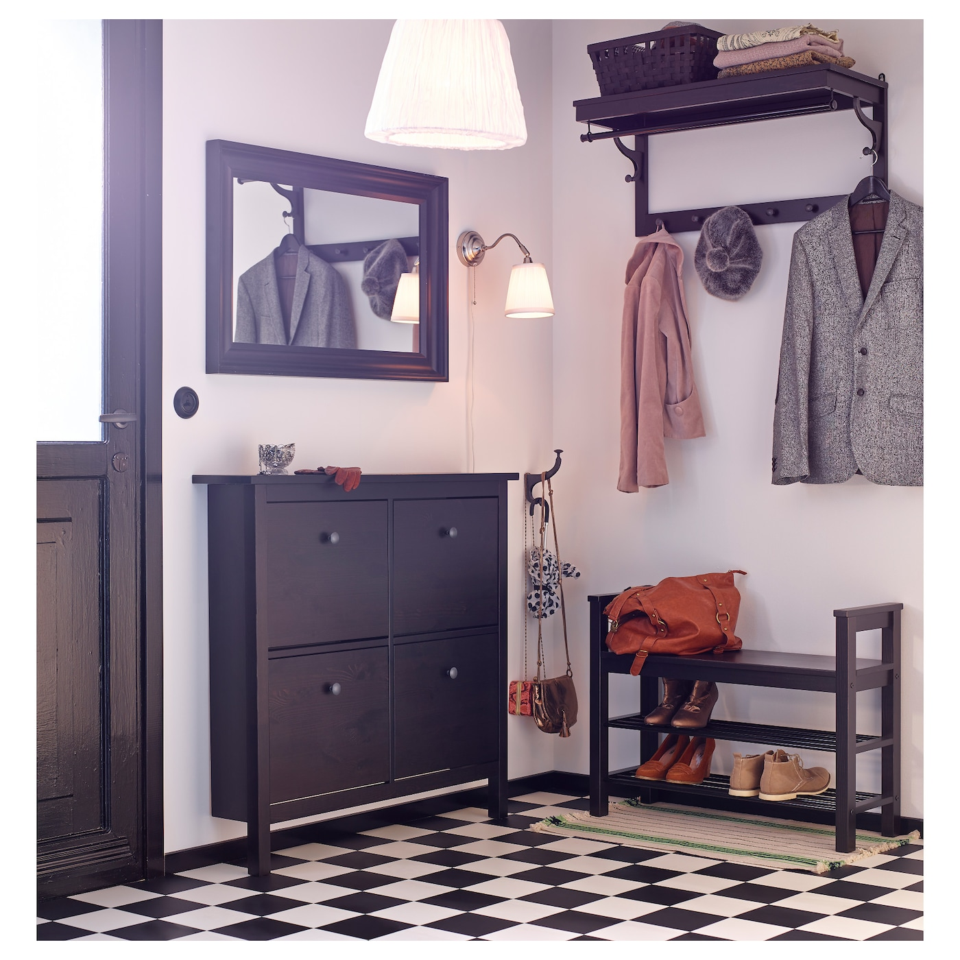 IKEA HEMNES shoe cabinet with 4 compartments & HEMNES Shoe cabinet with 4 compartments Black-brown 107 x 101 cm - IKEA