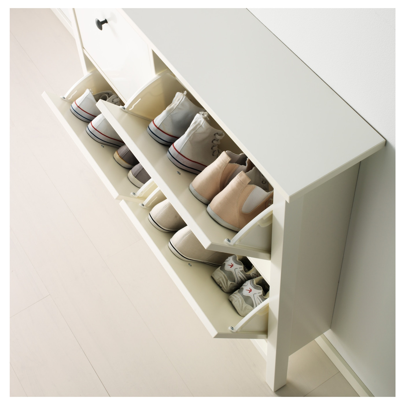 Hemnes Shoe Cabinet With 4 Compartments White 107x101 Cm