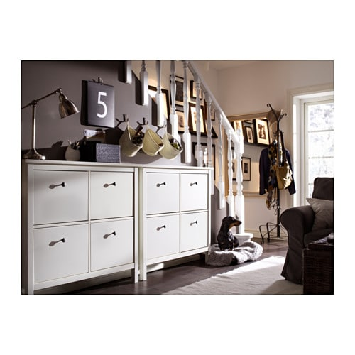 HEMNES Shoe cabinet with 4 compartments White 107×101 cm   IKEA