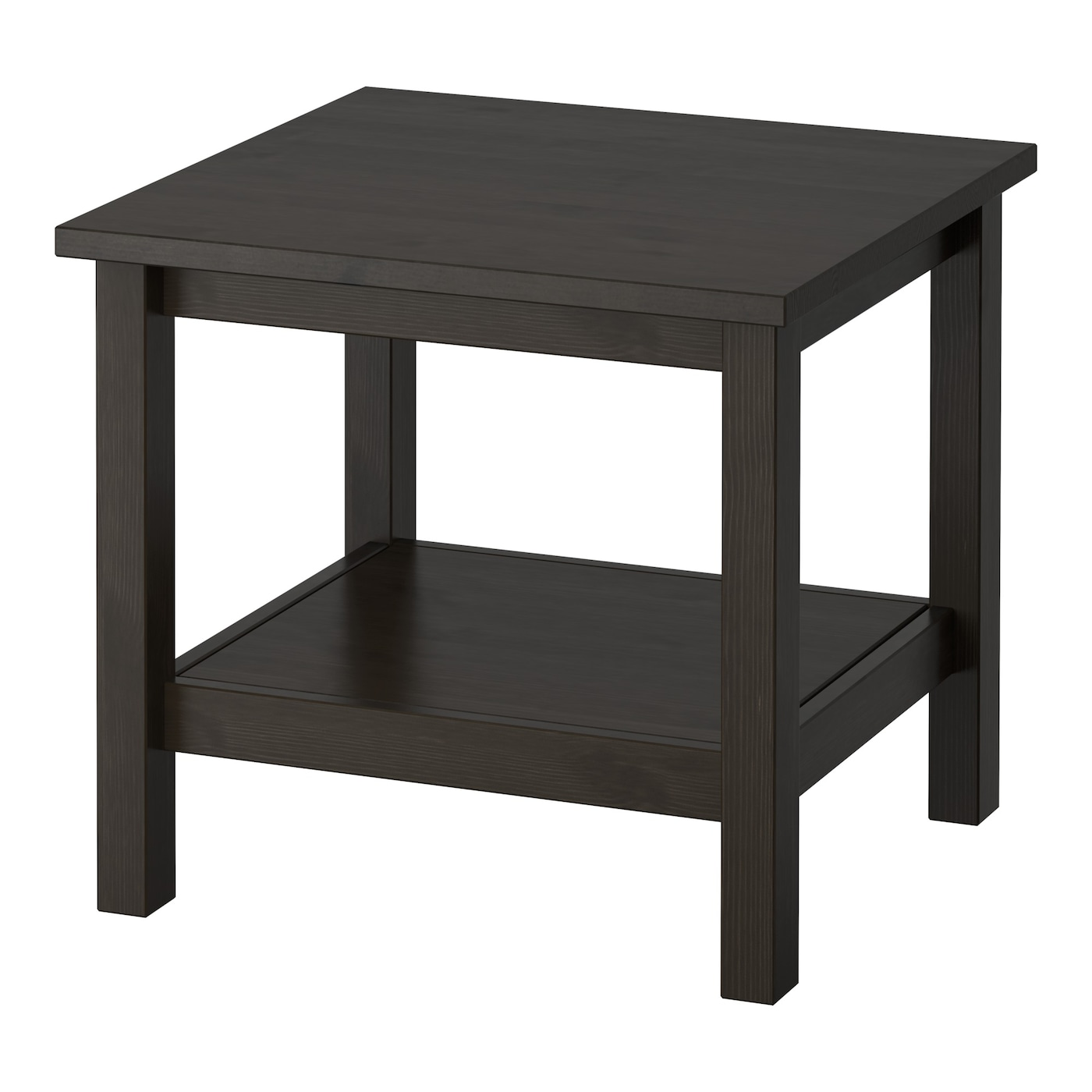 Hemnes side table black brown 55x55 cm ikea for Black wood coffee table and end tables