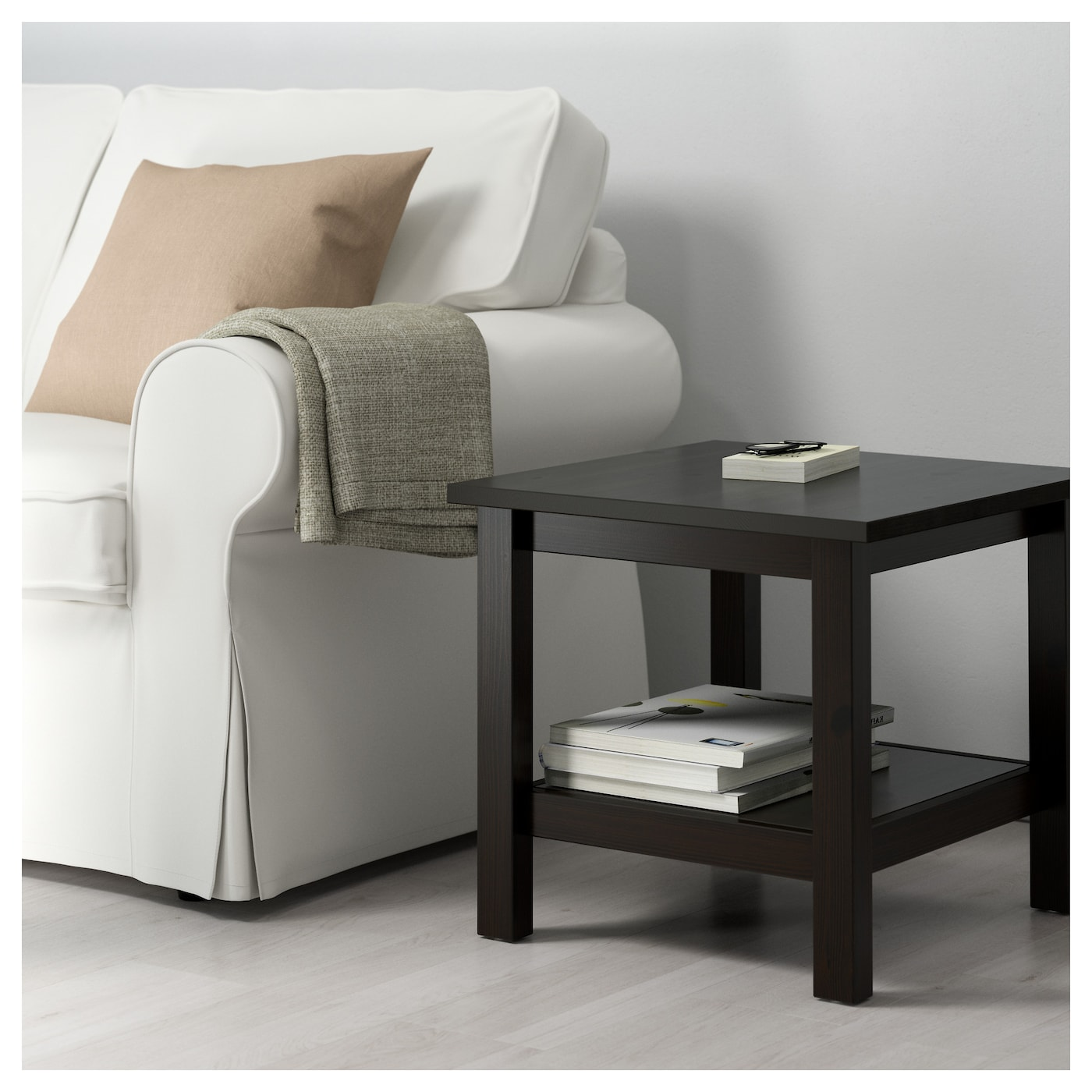 Hemnes Coffee Table White Stain 118x75 Cm: HEMNES Side Table Black-brown 55x55 Cm