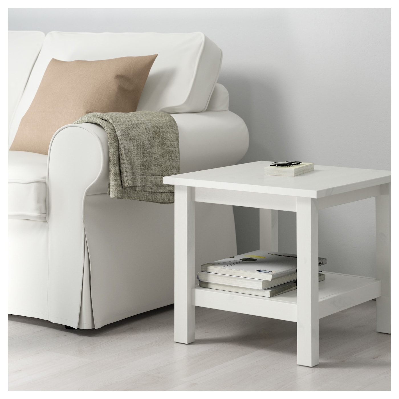 HEMNES Side Table White Stain 55x55 Cm