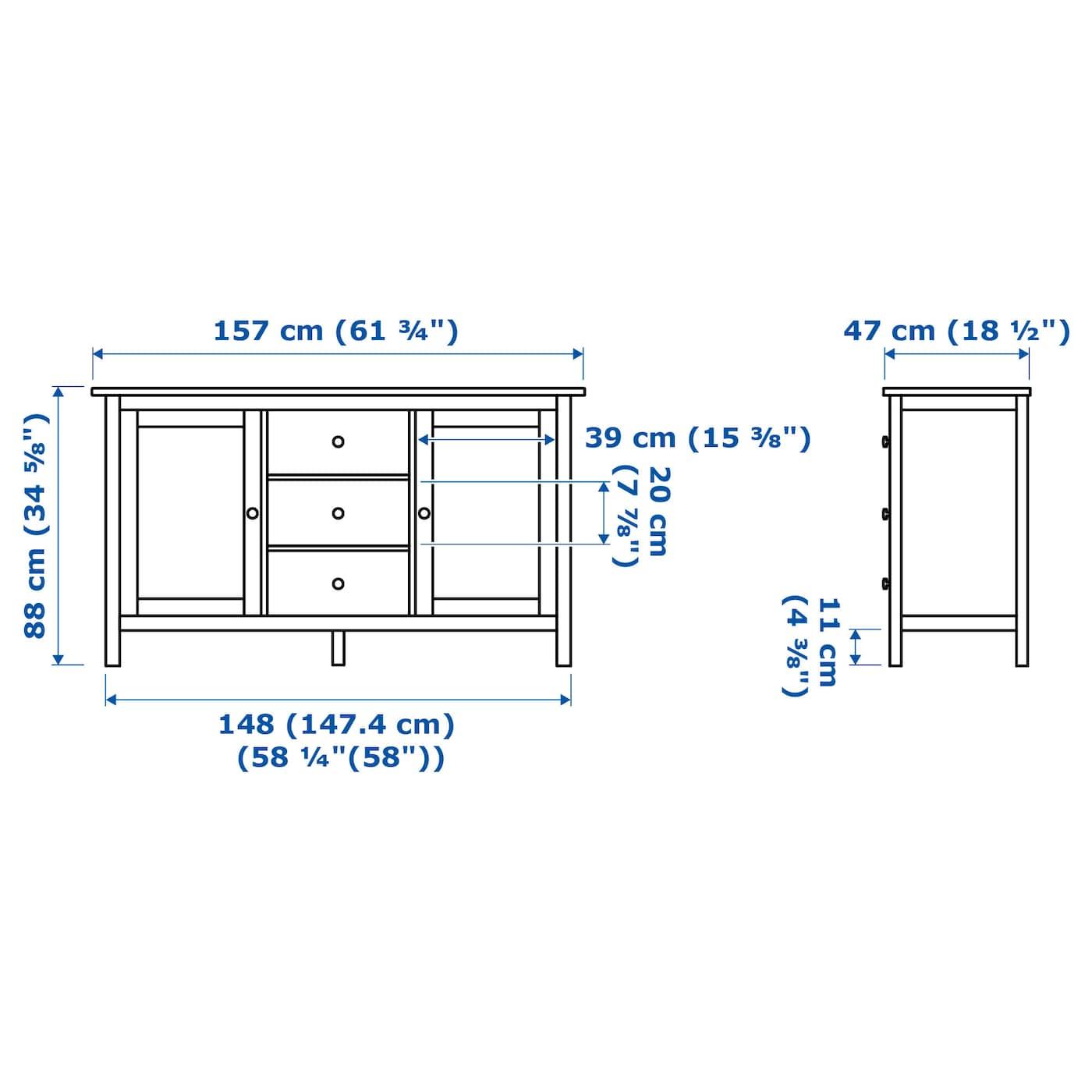 hemnes sideboard white stain 157 x 88 cm - ikea