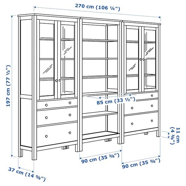 HEMNES Storage combination w doors/drawers, black-brown/light brown, 270x197 cm