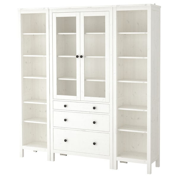 HEMNES Storage combination w doors/drawers, white stained/clear glass, 188x197 cm
