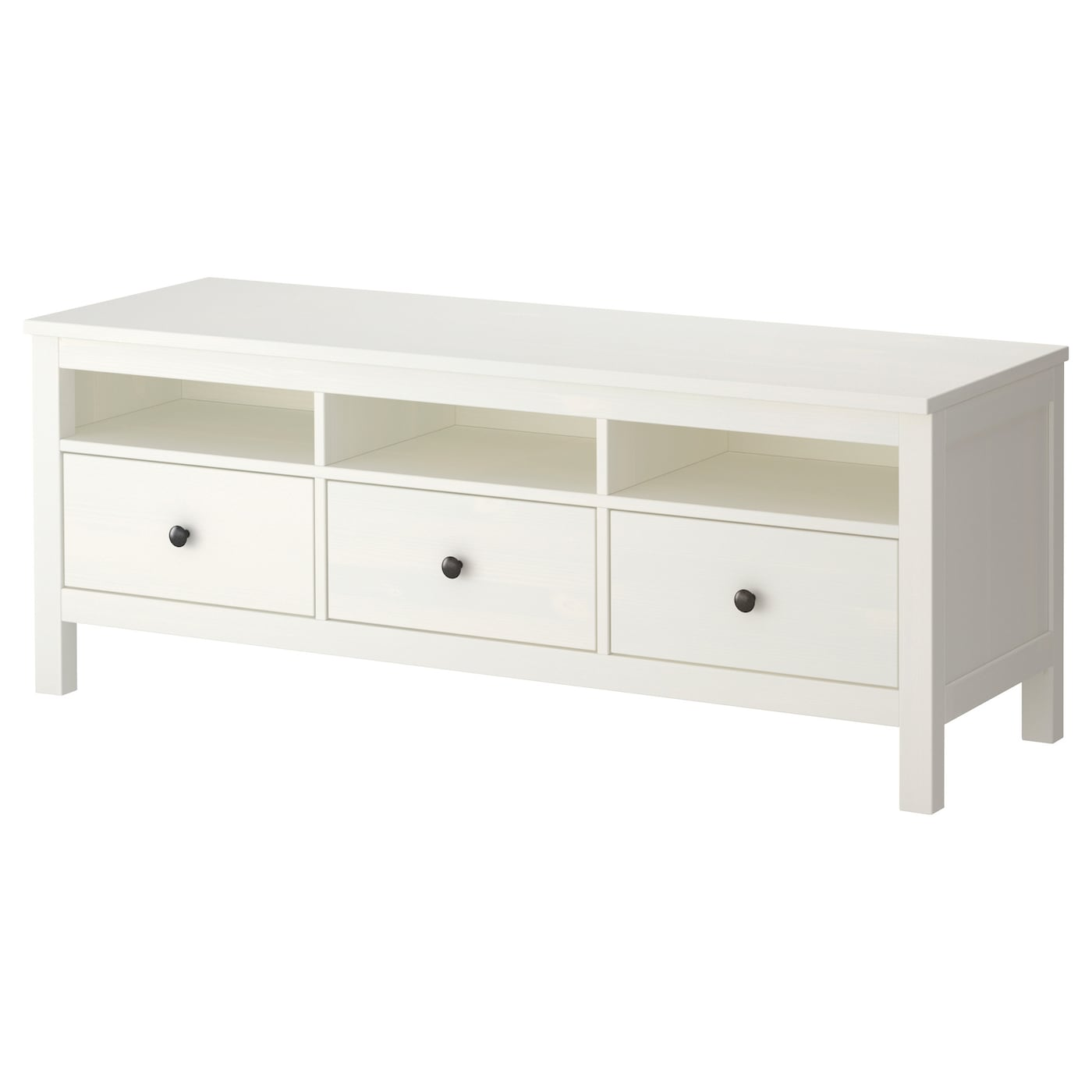 Ikea Hemnes Tv Bench Solid Wood Has A Natural Feel Open Compartments For Your Dvd
