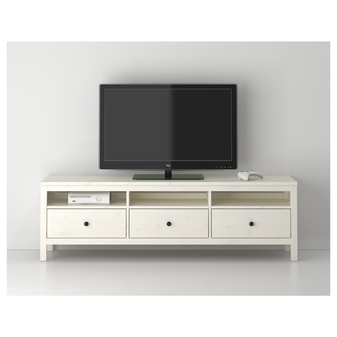 Hemnes tv bench white stain 183x47 cm ikea for Meuble tv hemnes