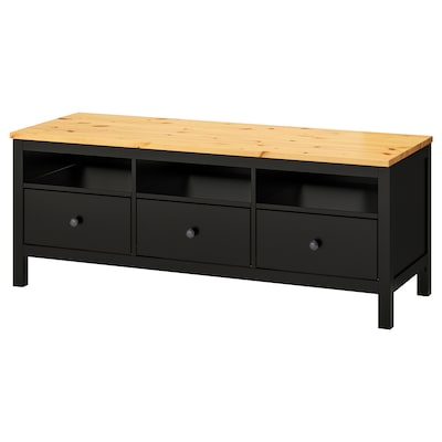 HEMNES TV bench black-brown/light brown 148 cm 47 cm 57 cm 50 kg