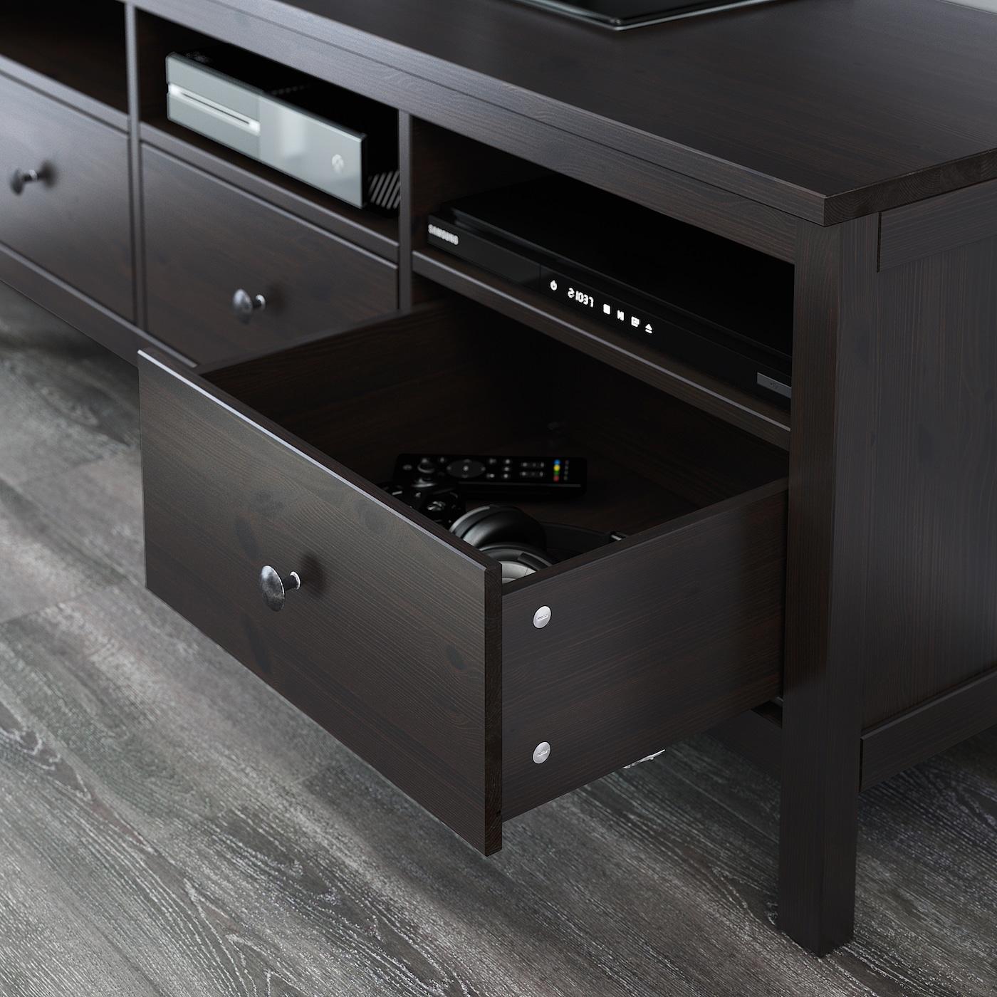 Hemnes Ikea Tv Kast.Hemnes Black Brown Tv Bench 148x47x57 Cm Ikea