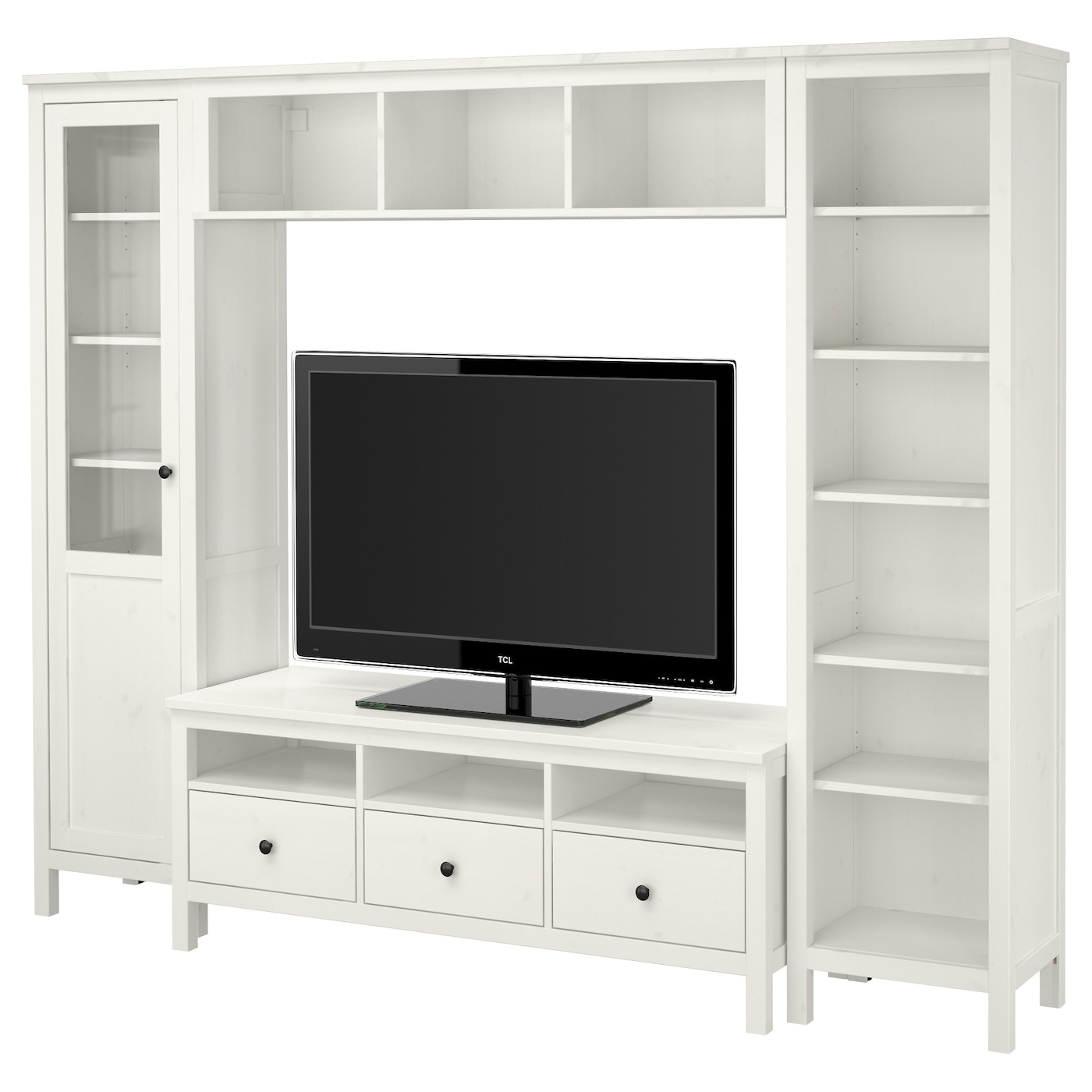 hemnes tv storage combination white stain 246x197 cm ikea. Black Bedroom Furniture Sets. Home Design Ideas