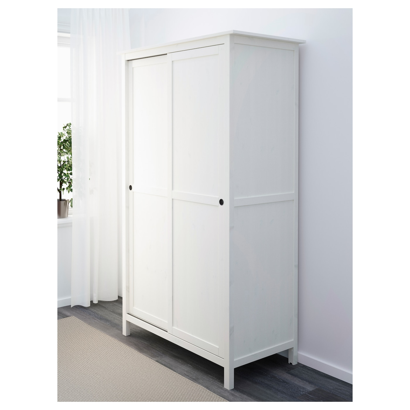 hemnes wardrobe with 2 sliding doors white stain 120x197 cm ikea